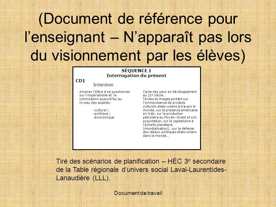 Document de travail (Document de référence pour lenseignant – Napparaît pas lors du visionnement par les élèves) Tiré des scénarios de planification –