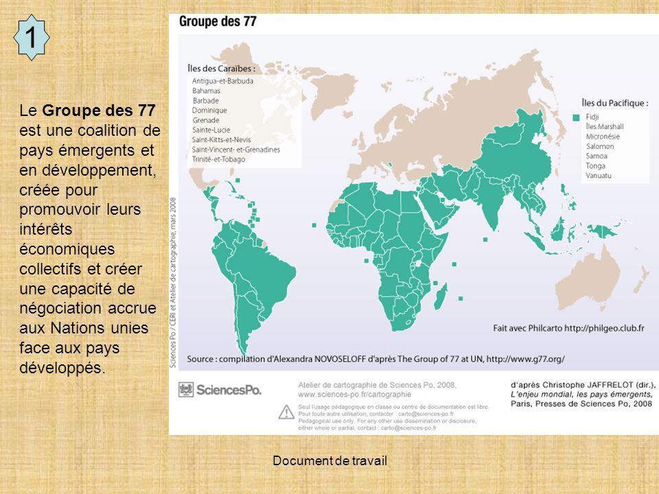 Document de travail 1 Le Groupe des 77 est une coalition de pays émergents et en développement, créée pour promouvoir leurs intérêts économiques colle