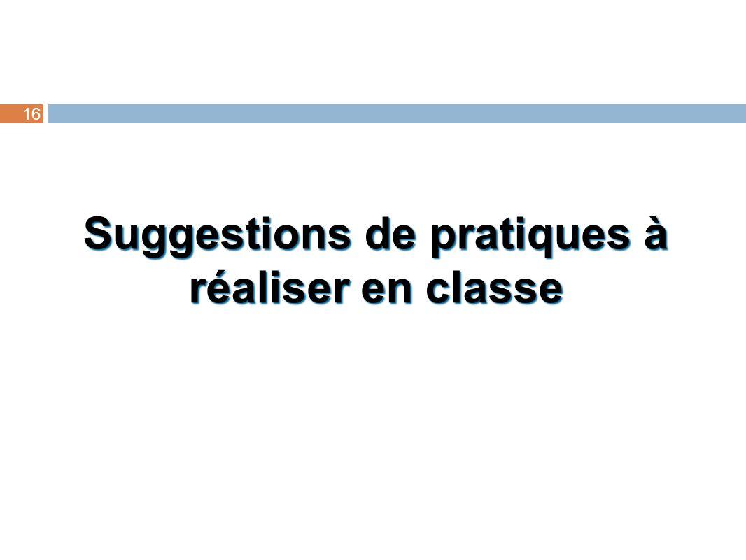 Suggestions de pratiques à réaliser en classe 16