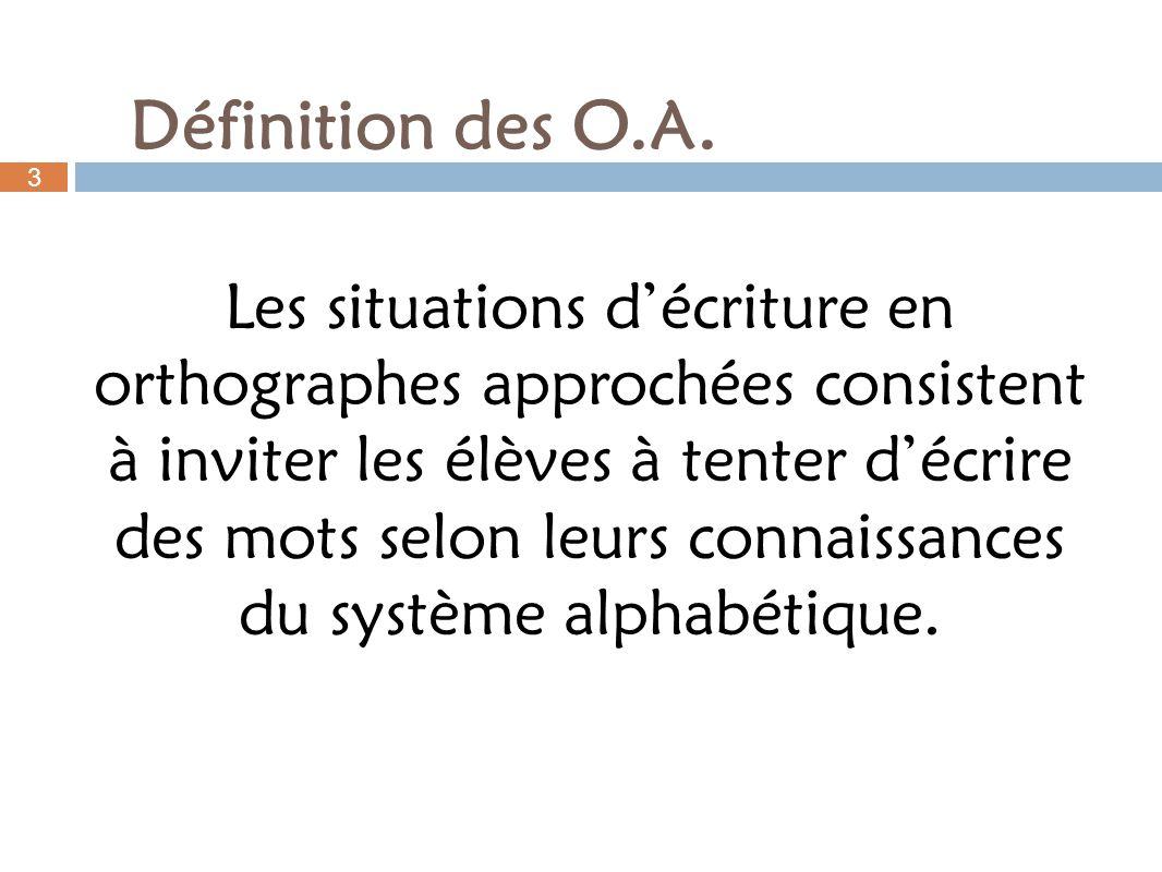 Les situations décriture en orthographes approchées consistent à inviter les élèves à tenter décrire des mots selon leurs connaissances du système alp