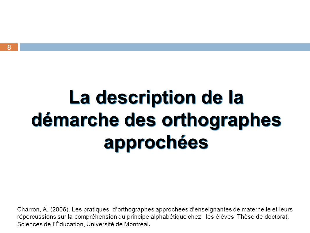 La description de la démarche des orthographes approchées 8 Charron, A. (2006). Les pratiques dorthographes approchées denseignantes de maternelle et
