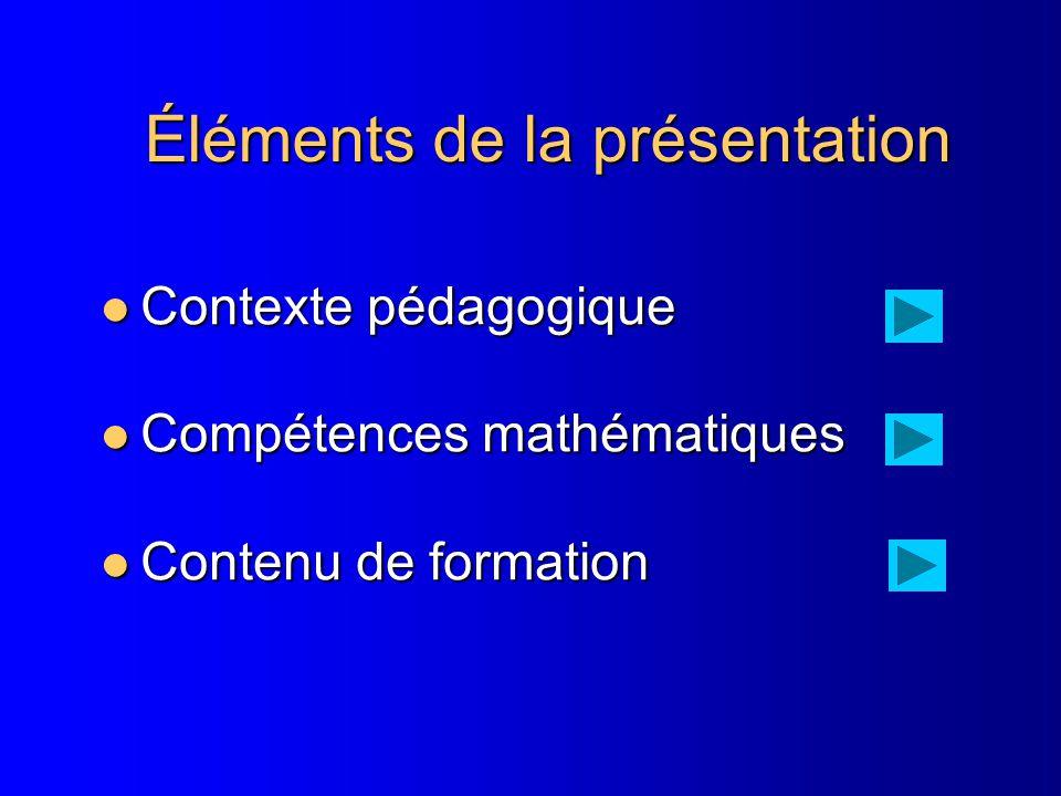 Éléments de la présentation Contexte pédagogique Contexte pédagogique Compétences mathématiques Compétences mathématiques Contenu de formation Contenu