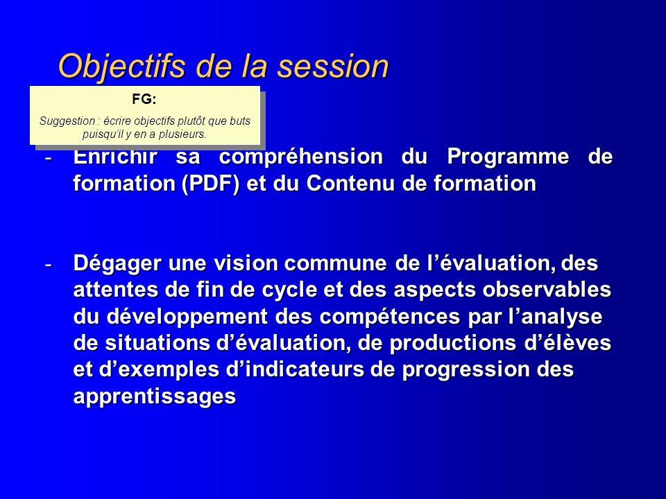 Objectifs de la session - Enrichir sa compréhension du Programme de formation (PDF) et du Contenu de formation - Dégager une vision commune de lévalua