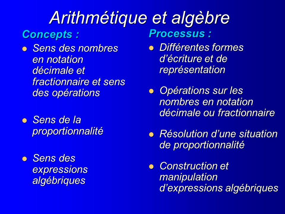 Arithmétique et algèbre Concepts : Sens des nombres en notation décimale et fractionnaire et sens des opérations Sens des nombres en notation décimale