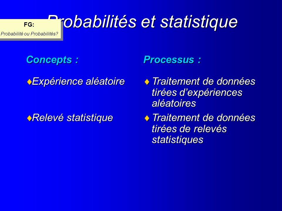 Probabilités et statistique Processus : Traitement de données tirées dexpériences aléatoires Traitement de données tirées dexpériences aléatoires Trai