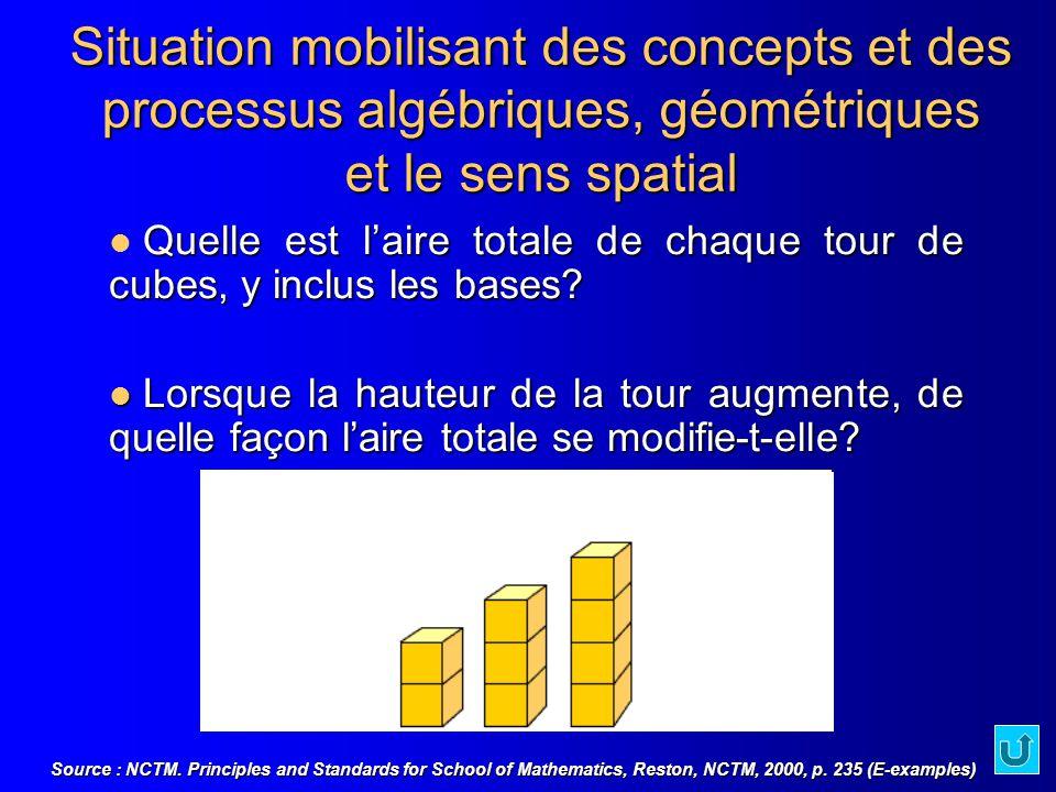 Quelle est laire totale de chaque tour de cubes, y inclus les bases? Lorsque la hauteur de la tour augmente, de quelle façon laire totale se modifie-t
