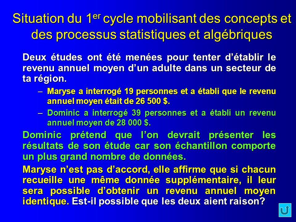 Situation du 1 er cycle mobilisant des concepts et des processus statistiques et algébriques Deux études ont été menées pour tenter détablir le revenu