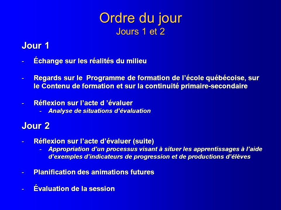 Ordre du jour Jours 1 et 2 Jour 1 - Échange sur les réalités du milieu - Regards sur le Programme de formation de lécole québécoise, sur le Contenu de
