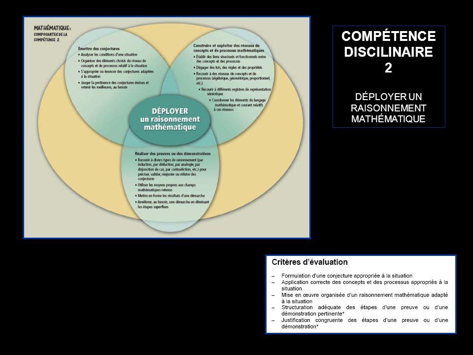 11 COMPÉTENCE DISCILINAIRE 2 DÉPLOYER UN RAISONNEMENT MATHÉMATIQUE