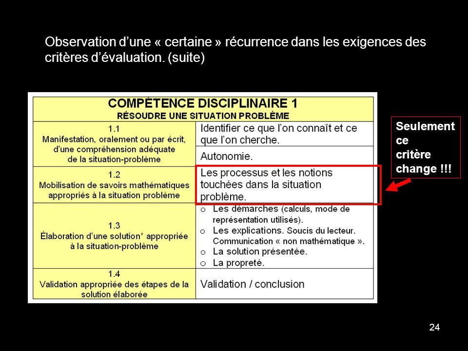 24 Observation dune « certaine » récurrence dans les exigences des critères dévaluation. (suite) Seulement ce critère change !!!