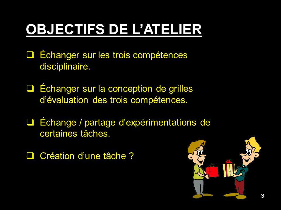 3 OBJECTIFS DE LATELIER Échanger sur les trois compétences disciplinaire.