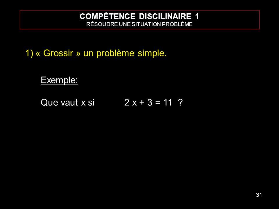 31 COMPÉTENCE DISCILINAIRE 1 RÉSOUDRE UNE SITUATION PROBLÈME 1)« Grossir » un problème simple. Exemple: Que vaut x si 2 x + 3 = 11 ?