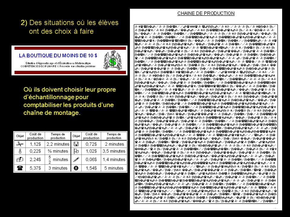 34 2) Des situations où les élèves ont des choix à faire Où ils doivent choisir leur propre déchantillonnage pour comptabiliser les produits dune chaî