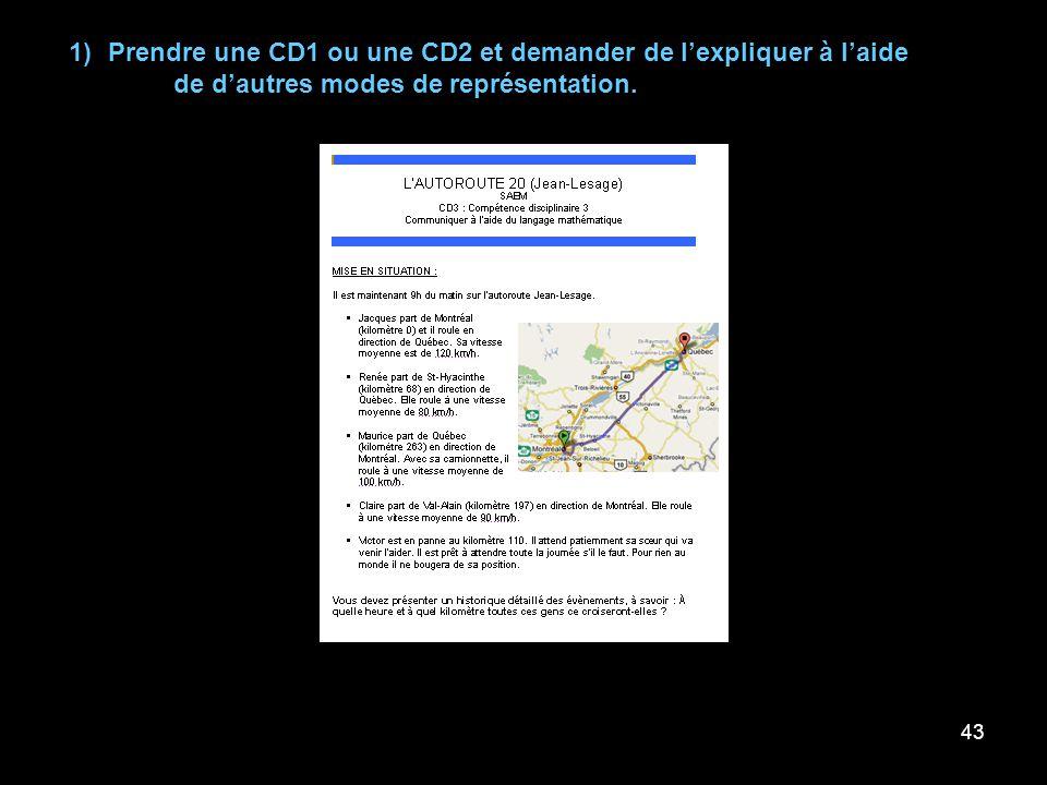 43 1) Prendre une CD1 ou une CD2 et demander de lexpliquer à laide de dautres modes de représentation.