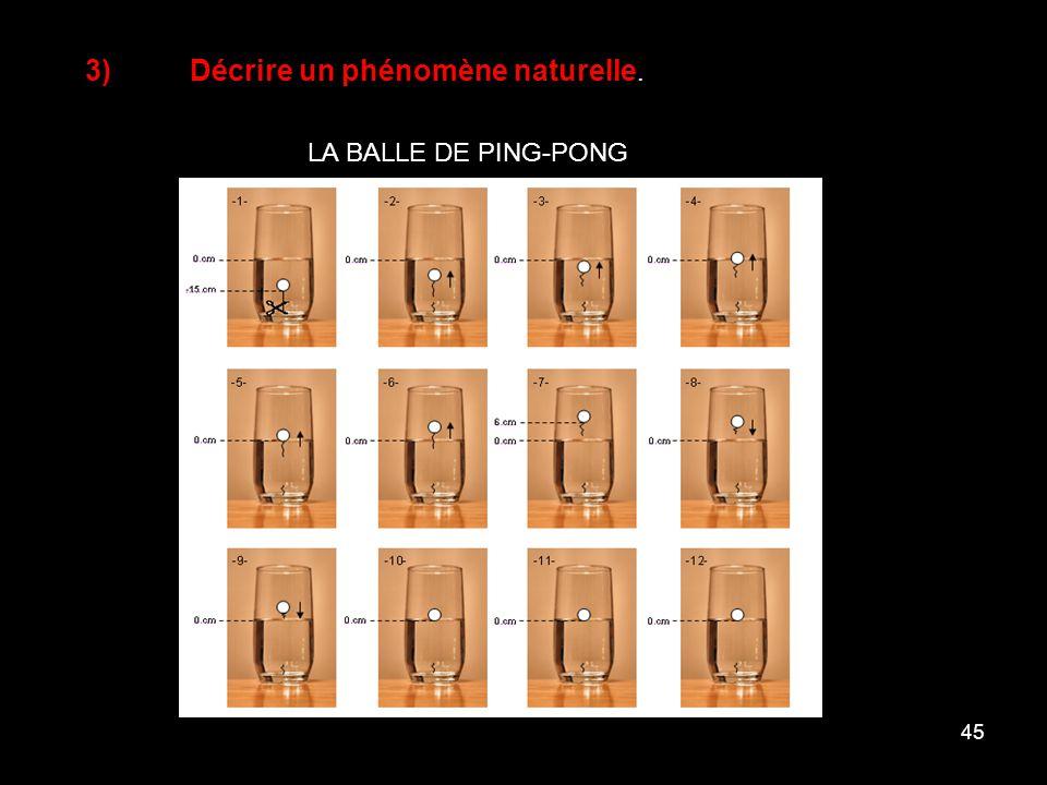 45 3)Décrire un phénomène naturelle. LA BALLE DE PING-PONG