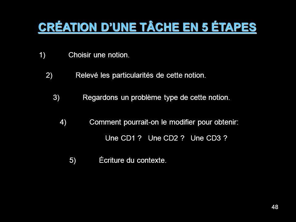 48 CRÉATION DUNE TÂCHE EN 5 ÉTAPES 1)Choisir une notion.