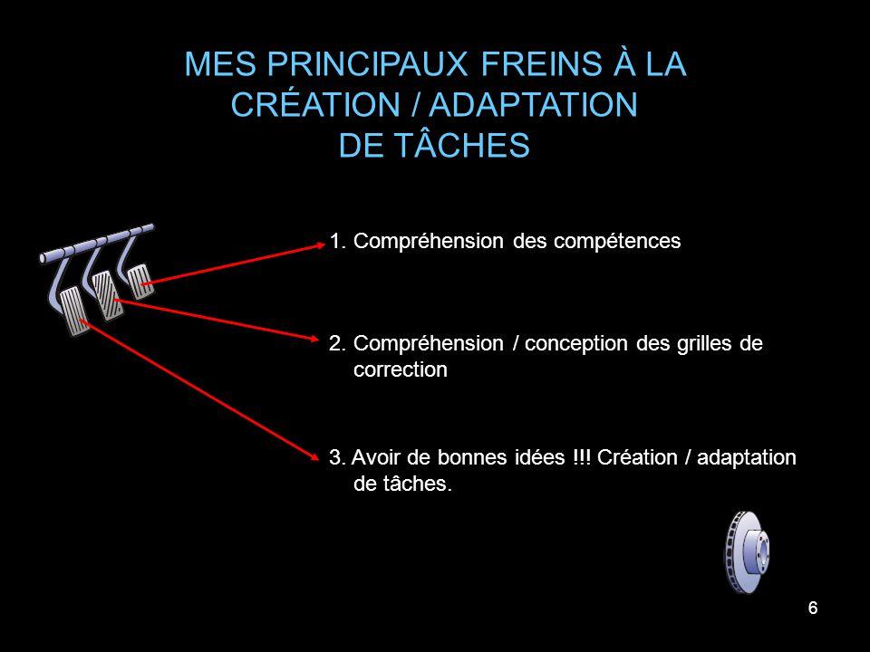 6 MES PRINCIPAUX FREINS À LA CRÉATION / ADAPTATION DE TÂCHES 1. Compréhension des compétences 2. Compréhension / conception des grilles de correction