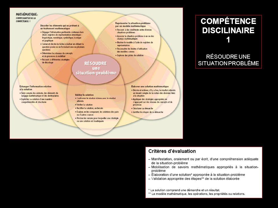 8 COMPÉTENCE DISCILINAIRE 1 RÉSOUDRE UNE SITUATION PROBLÈME
