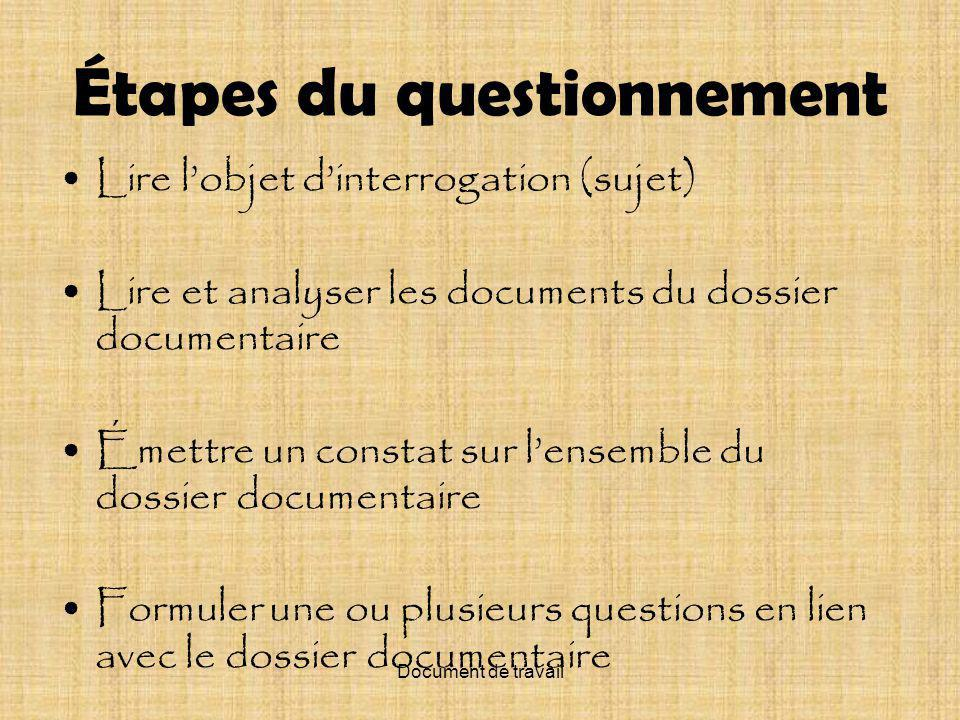 Document de travail Le fait français, aujourdhui, au Québec