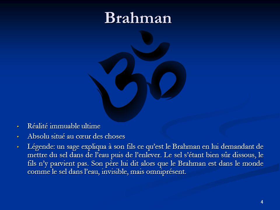 4Brahman Réalité immuable ultime Absolu situé au cœur des choses Légende: un sage expliqua à son fils ce quest le Brahman en lui demandant de mettre du sel dans de leau puis de lenlever.