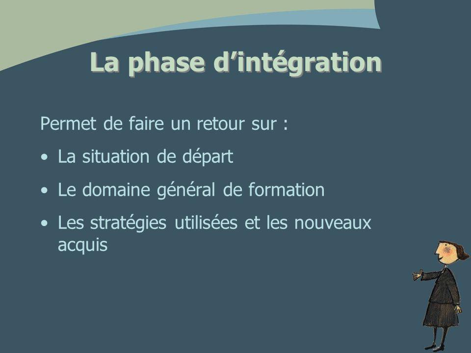 La phase dintégration Permet de faire un retour sur : La situation de départ Le domaine général de formation Les stratégies utilisées et les nouveaux acquis