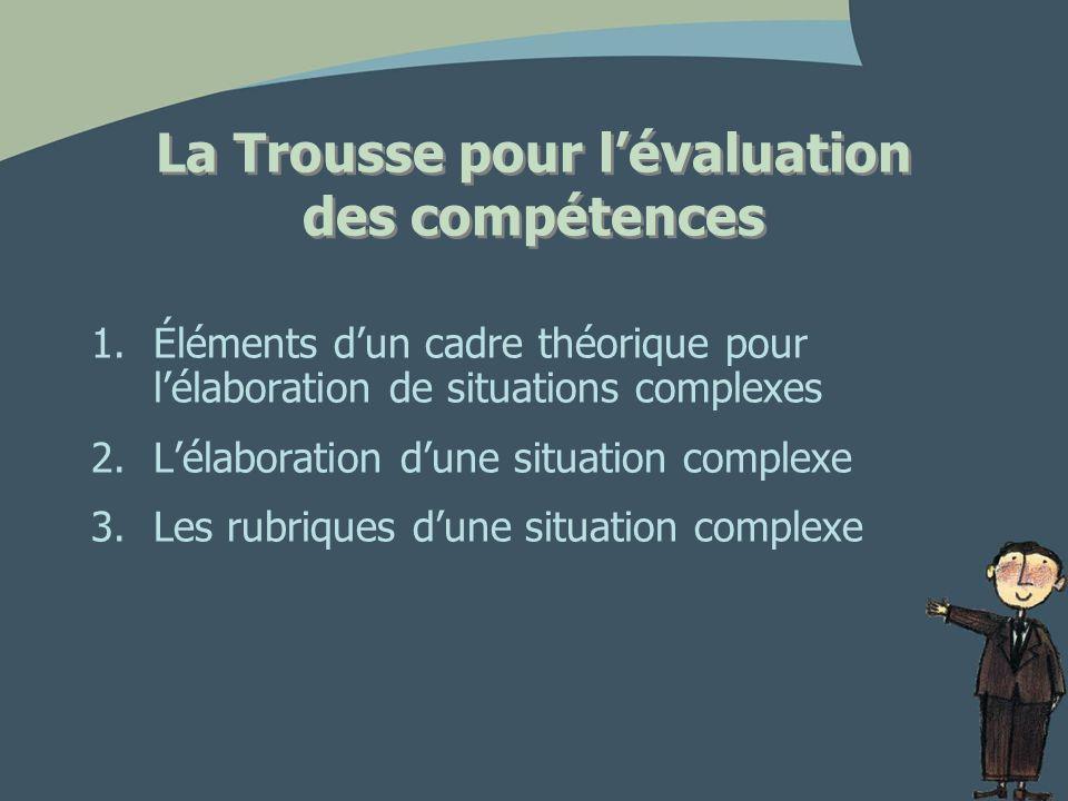 La Trousse pour lévaluation des compétences 1.Éléments dun cadre théorique pour lélaboration de situations complexes 2.Lélaboration dune situation complexe 3.Les rubriques dune situation complexe