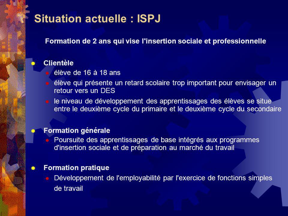 Situation actuelle : ISPJ Formation de 2 ans qui vise l'insertion sociale et professionnelle Clientèle élève de 16 à 18 ans élève qui présente un reta