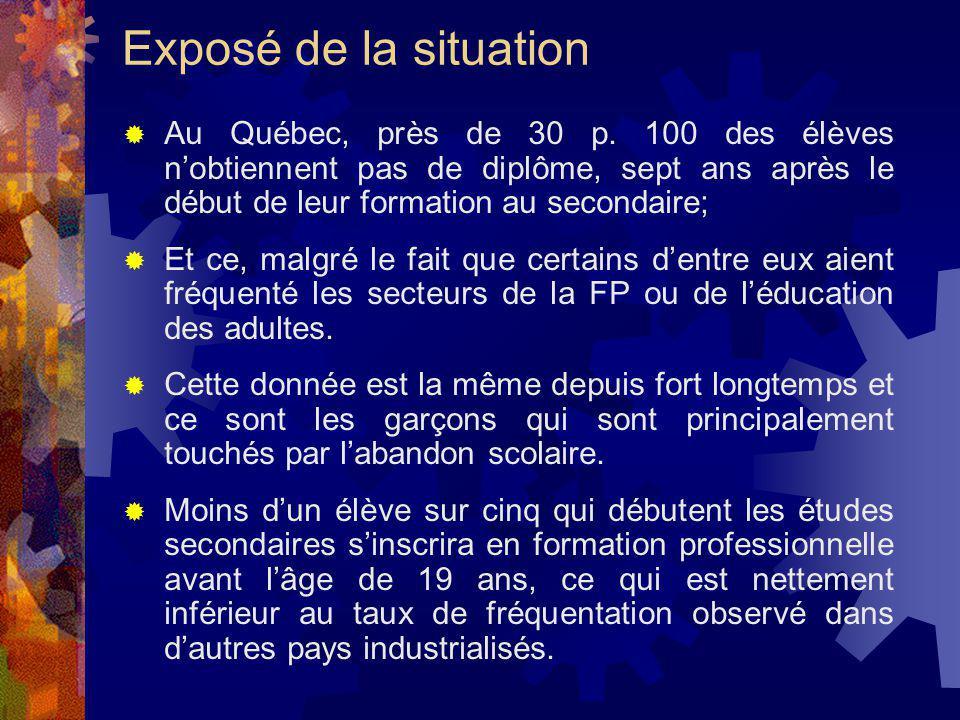 Exposé de la situation Au Québec, près de 30 p. 100 des élèves nobtiennent pas de diplôme, sept ans après le début de leur formation au secondaire; Et