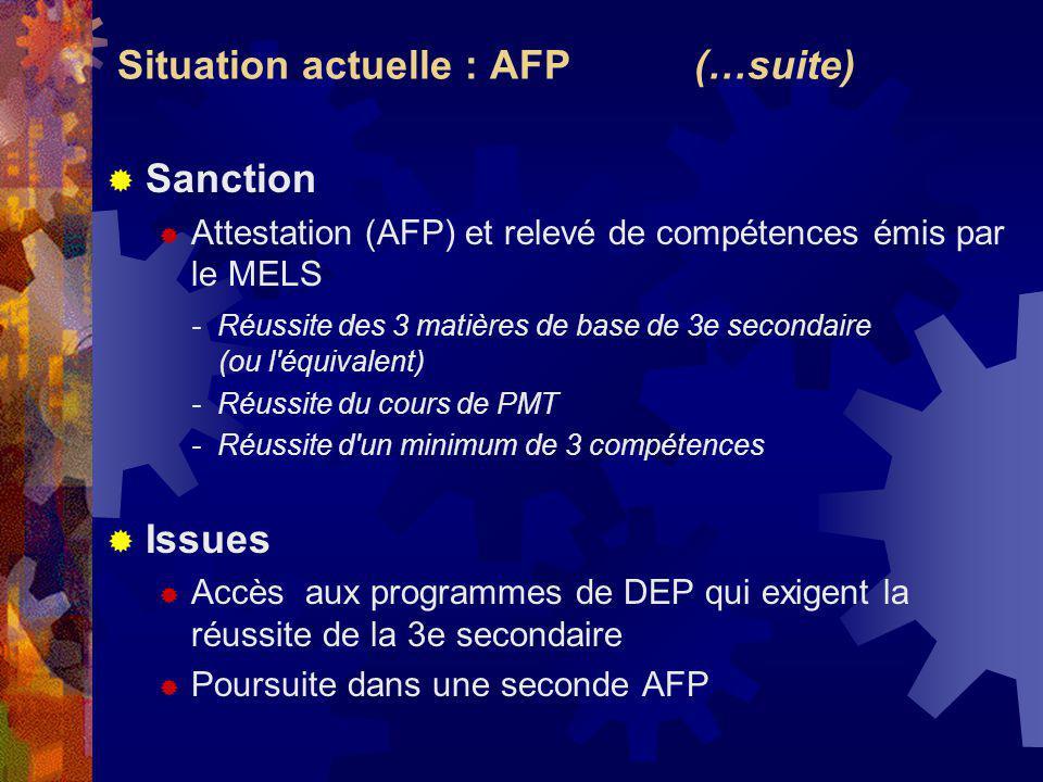 Situation actuelle : AFP (…suite) Sanction Attestation (AFP) et relevé de compétences émis par le MELS - Réussite des 3 matières de base de 3e secondaire (ou l équivalent) - Réussite du cours de PMT - Réussite d un minimum de 3 compétences Issues Accès aux programmes de DEP qui exigent la réussite de la 3e secondaire Poursuite dans une seconde AFP
