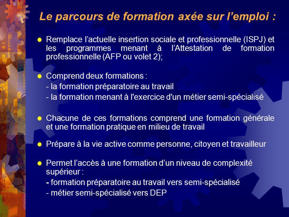 Remplace lactuelle insertion sociale et professionnelle (ISPJ) et les programmes menant à lAttestation de formation professionnelle (AFP ou volet 2);
