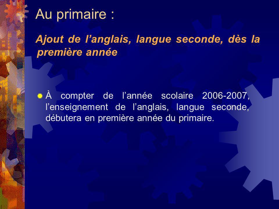 À compter de lannée scolaire 2006-2007, lenseignement de langlais, langue seconde, débutera en première année du primaire. Ajout de langlais, langue s