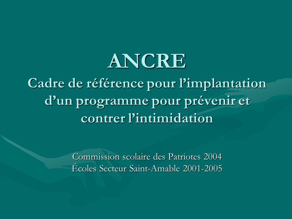 ANCRE Cadre de référence pour limplantation dun programme pour prévenir et contrer lintimidation Commission scolaire des Patriotes 2004 Écoles Secteur Saint-Amable 2001-2005
