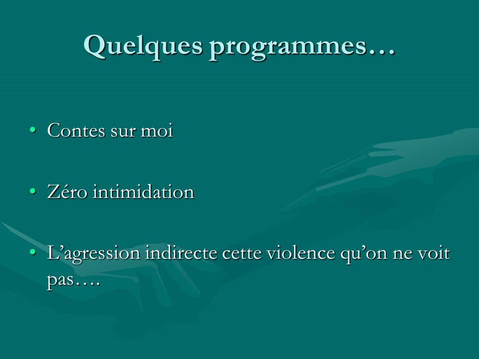 Quelques programmes… Contes sur moiContes sur moi Zéro intimidationZéro intimidation Lagression indirecte cette violence quon ne voit pas….Lagression indirecte cette violence quon ne voit pas….