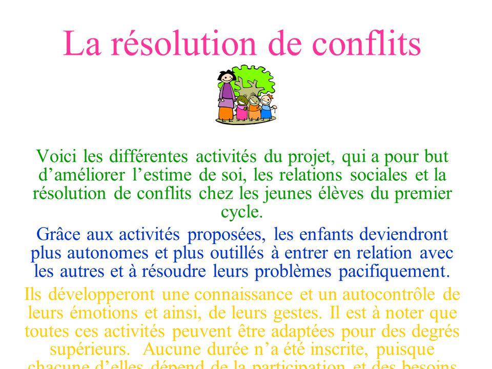 La résolution de conflits Voici les différentes activités du projet, qui a pour but daméliorer lestime de soi, les relations sociales et la résolution de conflits chez les jeunes élèves du premier cycle.