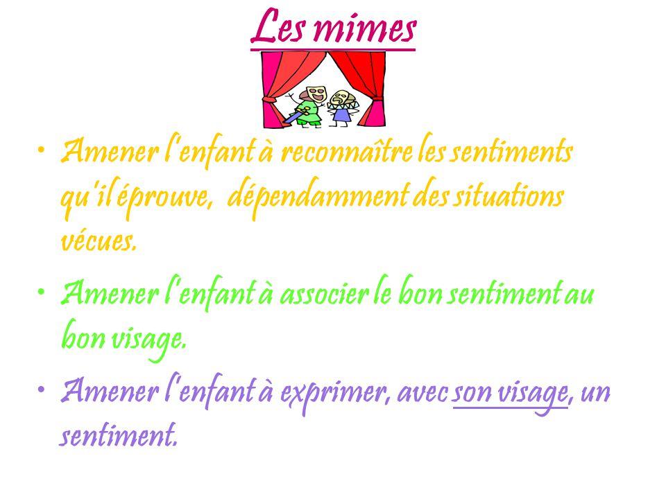 Les mimes Amener lenfant à reconnaître les sentiments quil éprouve, dépendamment des situations vécues.