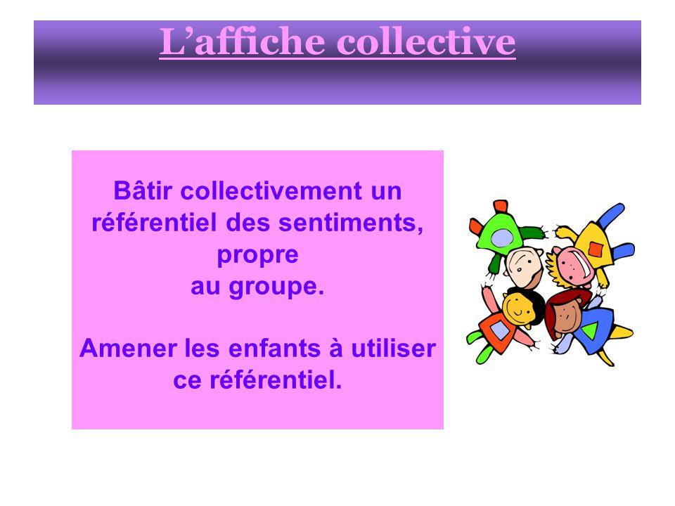 Laffiche collective Bâtir collectivement un référentiel des sentiments, propre au groupe.