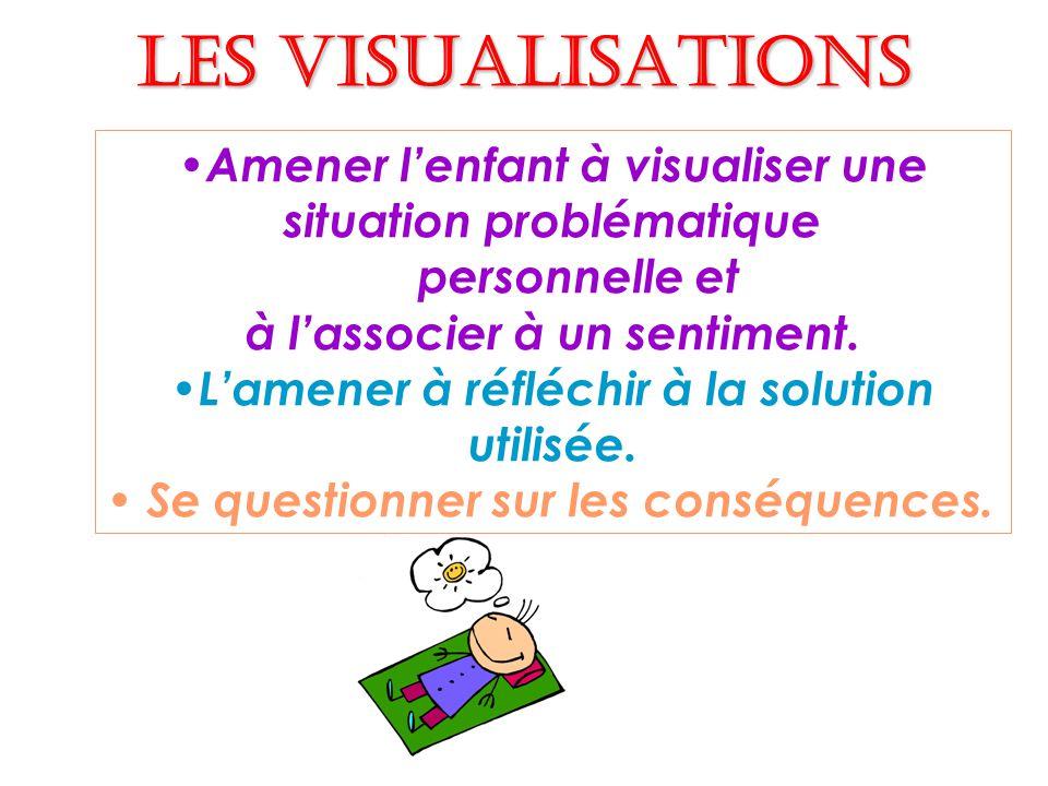 Les visualisations Amener lenfant à visualiser une situation problématique personnelle et à lassocier à un sentiment.
