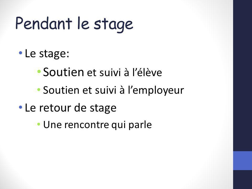 Pendant le stage Le stage: Soutien et suivi à lélève Soutien et suivi à lemployeur Le retour de stage Une rencontre qui parle