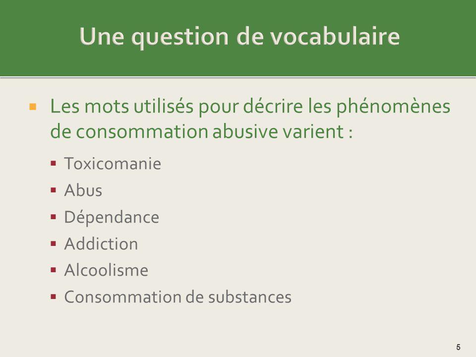 Les mots utilisés pour décrire les jeunes qui ont des problèmes de consommation varient: Junkie Drogué Pouilleux Décrocheur « Coké » Pusher « Gelé » Malade 6