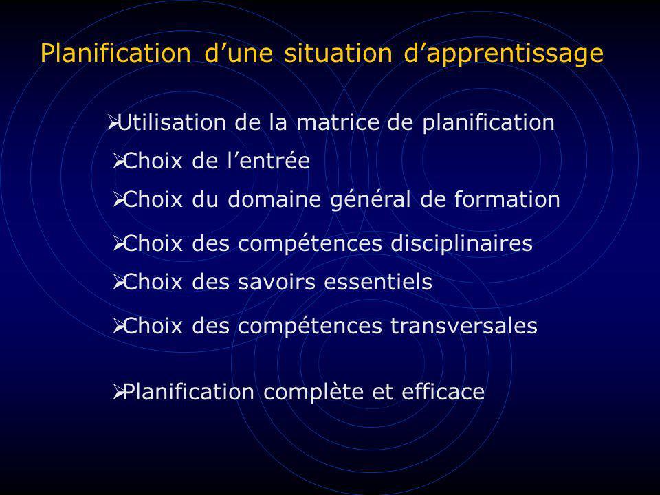 Planification dune situation dapprentissage Utilisation de la matrice de planification Choix de lentrée Choix du domaine général de formation Choix de