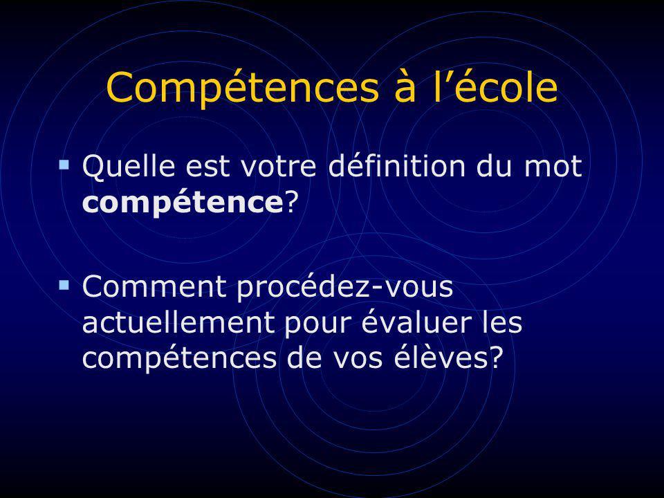 Compétences à lécole Quelle est votre définition du mot compétence? Comment procédez-vous actuellement pour évaluer les compétences de vos élèves?