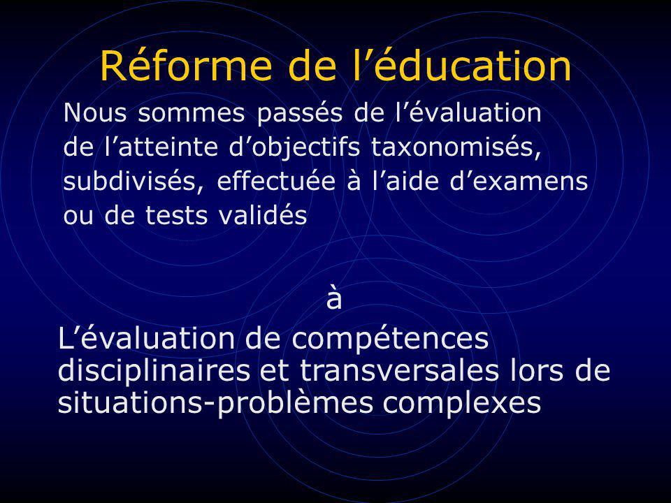 Réforme de léducation Nous sommes passés de lévaluation de latteinte dobjectifs taxonomisés, subdivisés, effectuée à laide dexamens ou de tests validé
