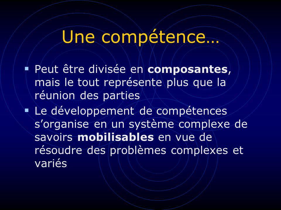 Une compétence… Peut être divisée en composantes, mais le tout représente plus que la réunion des parties Le développement de compétences sorganise en