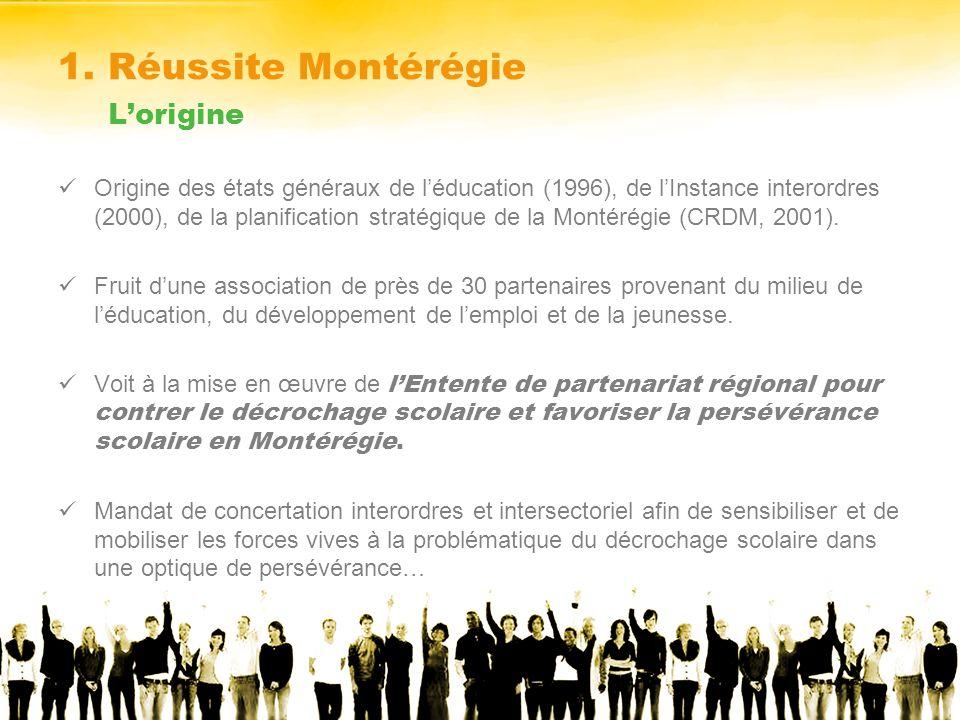 1. Réussite Montérégie Lorigine Origine des états généraux de léducation (1996), de lInstance interordres (2000), de la planification stratégique de l