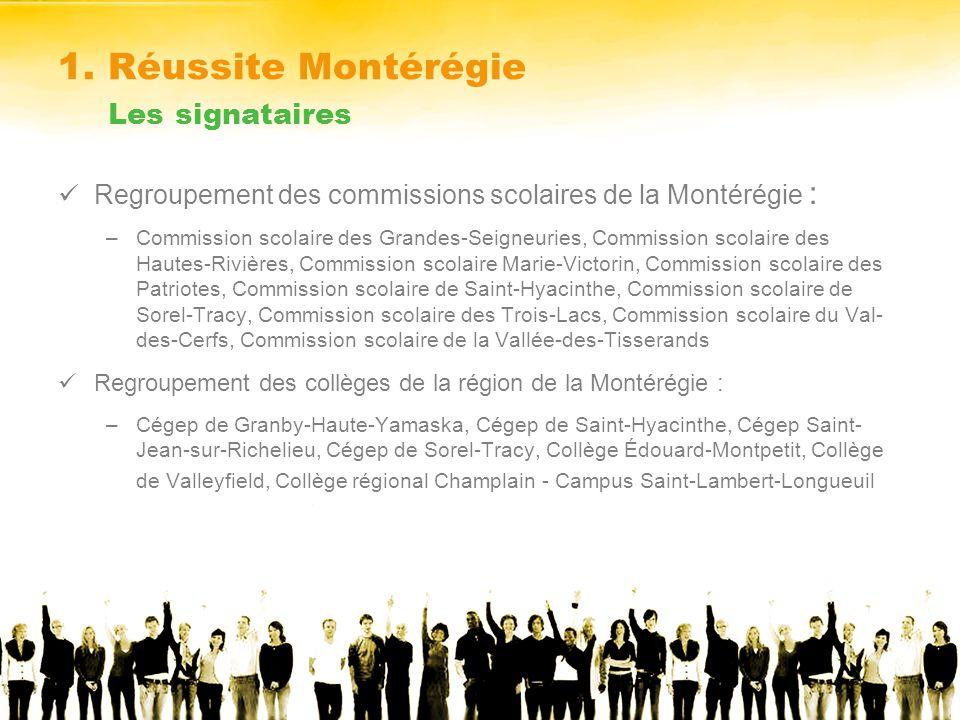 1. Réussite Montérégie Les signataires Regroupement des commissions scolaires de la Montérégie : –Commission scolaire des Grandes-Seigneuries, Commiss