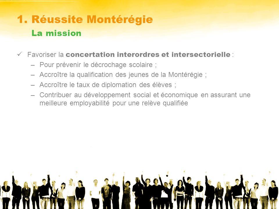 1. Réussite Montérégie La mission Favoriser la concertation interordres et intersectorielle : –Pour prévenir le décrochage scolaire ; –Accroître la qu
