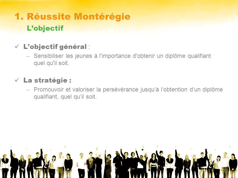1. Réussite Montérégie Lobjectif Lobjectif général : – Sensibiliser les jeunes à l'importance d'obtenir un diplôme qualifiant quel qu'il soit. La stra