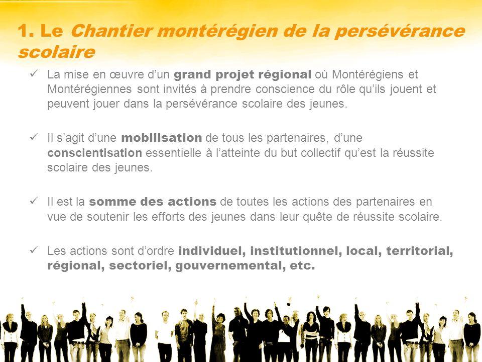 1. Le Chantier montérégien de la persévérance scolaire La mise en œuvre dun grand projet régional où Montérégiens et Montérégiennes sont invités à pre
