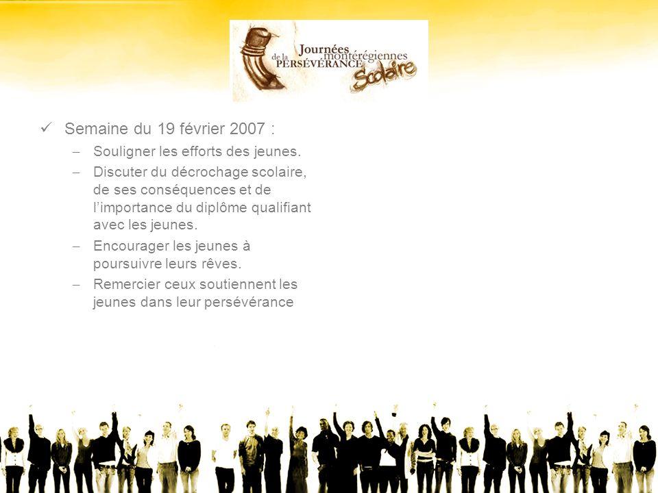 Semaine du 19 février 2007 : – Souligner les efforts des jeunes.