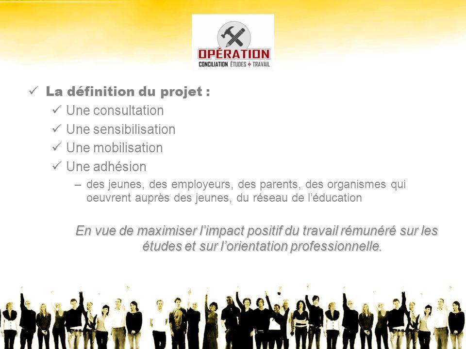 La définition du projet : Une consultation Une sensibilisation Une mobilisation Une adhésion –des jeunes, des employeurs, des parents, des organismes qui oeuvrent auprès des jeunes, du réseau de léducation En vue de maximiser limpact positif du travail rémunéré sur les études et sur lorientation professionnelle.